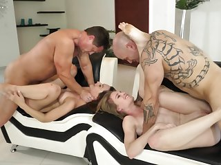 Choking And Having it away Slutty Girls In A Rough Foursome