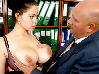 Boss made dramatis personae with secretary's huge tits
