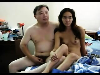 Small Asian slut object her hairy pussy