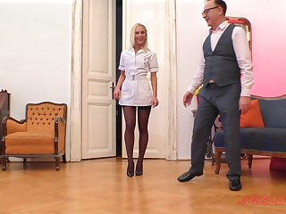 Peaches nurse in nylons Cecilia Scott blows and rides an older guy