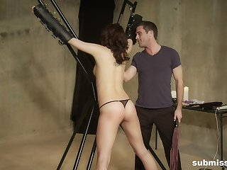 Brunette tot Sadie Holmes strapped in with an increment of abused with an increment of spanked hard