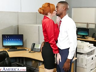 Lusty white-hot haired office slut Lauren Phillips wanna ride strong long BBC