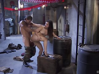 Army sponger fucks will not hear of pussy merciless then cums roughly will not hear of