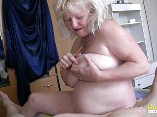 Hardcore threesome action with blowjob together with huge mature boobs in ungentlemanly role