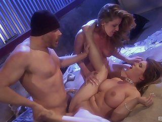 MILF babes Kayla Paige with an increment of Jennifer Keellings take twists on a cock