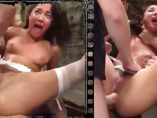Messy pulchritude plowed xxx with five immense penises!
