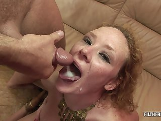 Kinky slut uses a toy before two guys double penetrate her