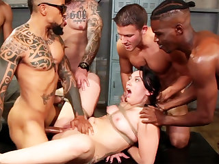 Bound incomprehensible enjoys her most assuredly first interracial gang-bang
