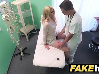 Fake Hospital Dirty doctor gives blonde Czech babe soaked pants