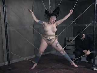 Heavily tattooed and pierced big Luna Lavey gets tortured hardcore