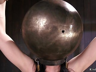 Bald Pussy bitch with hands and pot-head in metal balls
