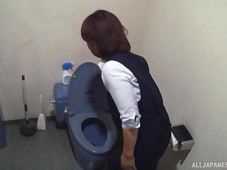 Hardcore toilet blowjob from Japanese amateur MILF maid
