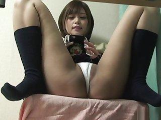 Japanese Schoolgirl Upskirt from Under Desk