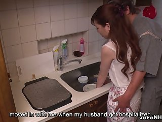 Japanese cute skirt Emi Sasaki is fucked by perverse husband's kinsman