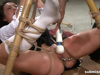 Teen in a miniskirt coupled with socks Nyssa Nevers tied up coupled with tortured
