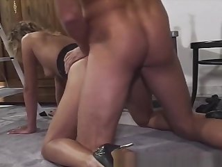 Smalltit Blonde MILF Sucking And Shacking up Chubby Cock