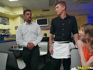 Slutty Anya Olsen seduces a cleaning man at a restaurant and pounds him