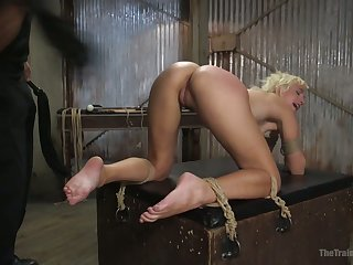 Loud bondage slut Eliza Jane is brutally fucked from behind while being hung