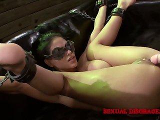 Super flexible naked hoe Jasmine Caro is mouthfucked during hard bondage