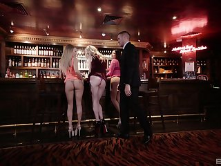 Hot Carly Rae adores doggy style after a blowjob in woman of easy virtue bar