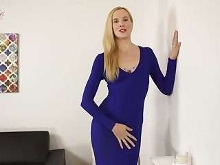 Tall blond porn model Ariel Anderssen gets naked and teases with luscious exasperation