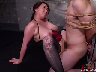 Busty Japanese milf bondage porn with obedient darling