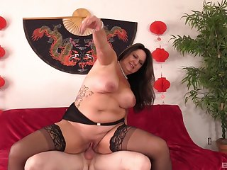 Chubby mature loves riding the dick as A hard as A possible