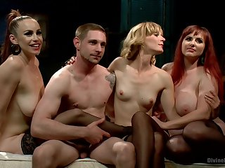 Group BDSM action with Mz Berlin, Bella Rossi & Mona Wales
