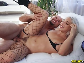 Blonde almost hairy snatch, fabulous mating on cam