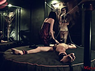 Femdom Nipple Torture of a chained get up to Sub - Bit of skirt Kym