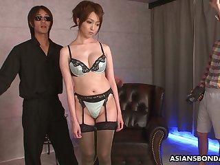 Shibari Japanese girls Izumi Tachibana is fucked and jizzed by several guys