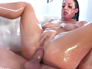Unfathomable cavity anal fucking for oiled up brunette bombshell Angela White