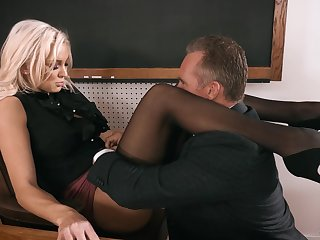 Strict looking busty blonde principal Kenzie Taylor lures dude to fuck senseless