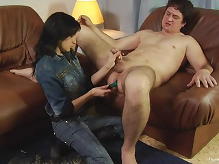 Beamy shy gay blade with a small dick gets his bore penetrated with a dildo