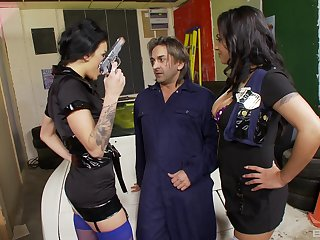 Female cops fuck this mechanic in dirty modes