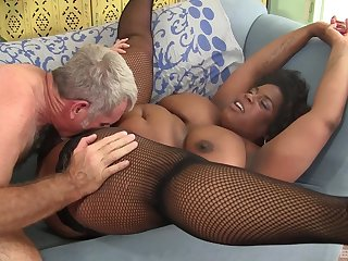 Mature African lady Marliese Morgan rides a cock while her tits bounce