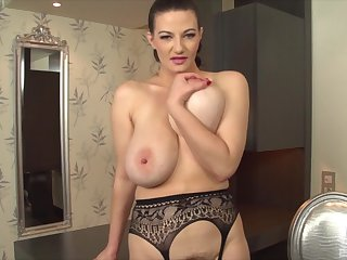Solo model around fat natural tits strips and pleasures herself