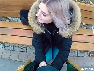 Putrid Russian teen Eva Elfie gives a blowjob with public for affirmative