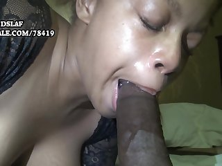 Busty ebony jocular mater sucking coupled with deepthroating BBC for cum load
