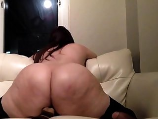 Broad in the beam Butt Brunette In Stockings
