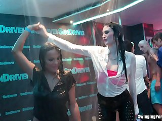 Glamour models Bella Baby and Jessie Hazz regarding wet T-shirt competition