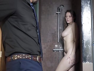 Hot alluring curly MILF Sofia Curly gets minimal and gives nice head yon bathroom