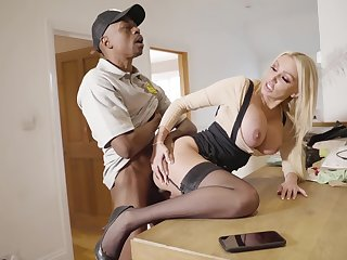 Interracial triumvirate in the kitchen everywhere blonde Amber Jayne
