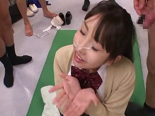 Slutty Mai Usami spreads her legs to be fucked by a lot of dudes