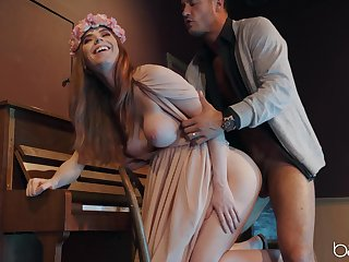 Slim redhead smashes huge dong with reference to both her wet holes