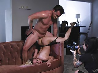 Inked blonde whore Aiden Ashley getting pounded gaffer hard on camera
