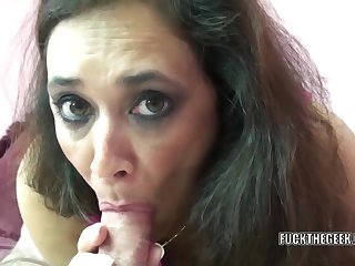 Mature swinger Alesia Pleasure lies on her belly in the long run b for a long time she swallows a stiff load of shit