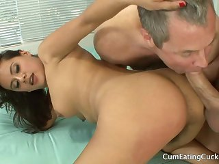 Muted brunette in cuckold threesome action