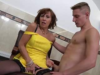 Handsome second-storey man with a large dick fucks wet pussy of matured Dana