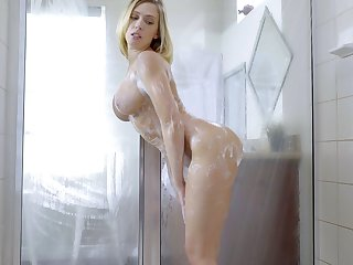Shafting in the shower with large fake boobs wife Kagney Linn Karter